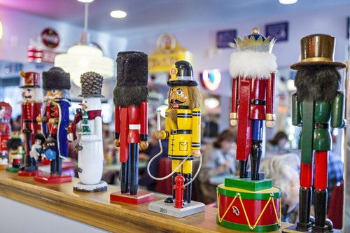 Nutcrackers lined up in the main dining room